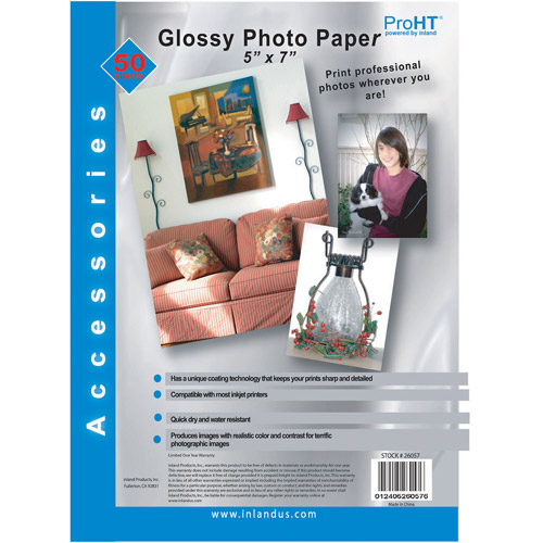 "Inland Pro Photo Glossy Paper 5"" x 7"" 50 Pack"