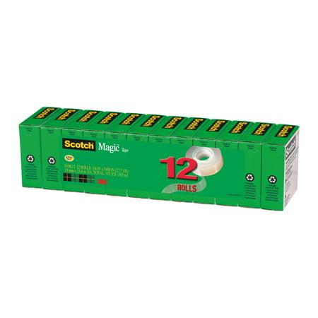 Scotch Magic Office Tape Refill 12 pack, 3/4 in. x 1000in. Per Roll, Clear, 12 Rolls/Pack