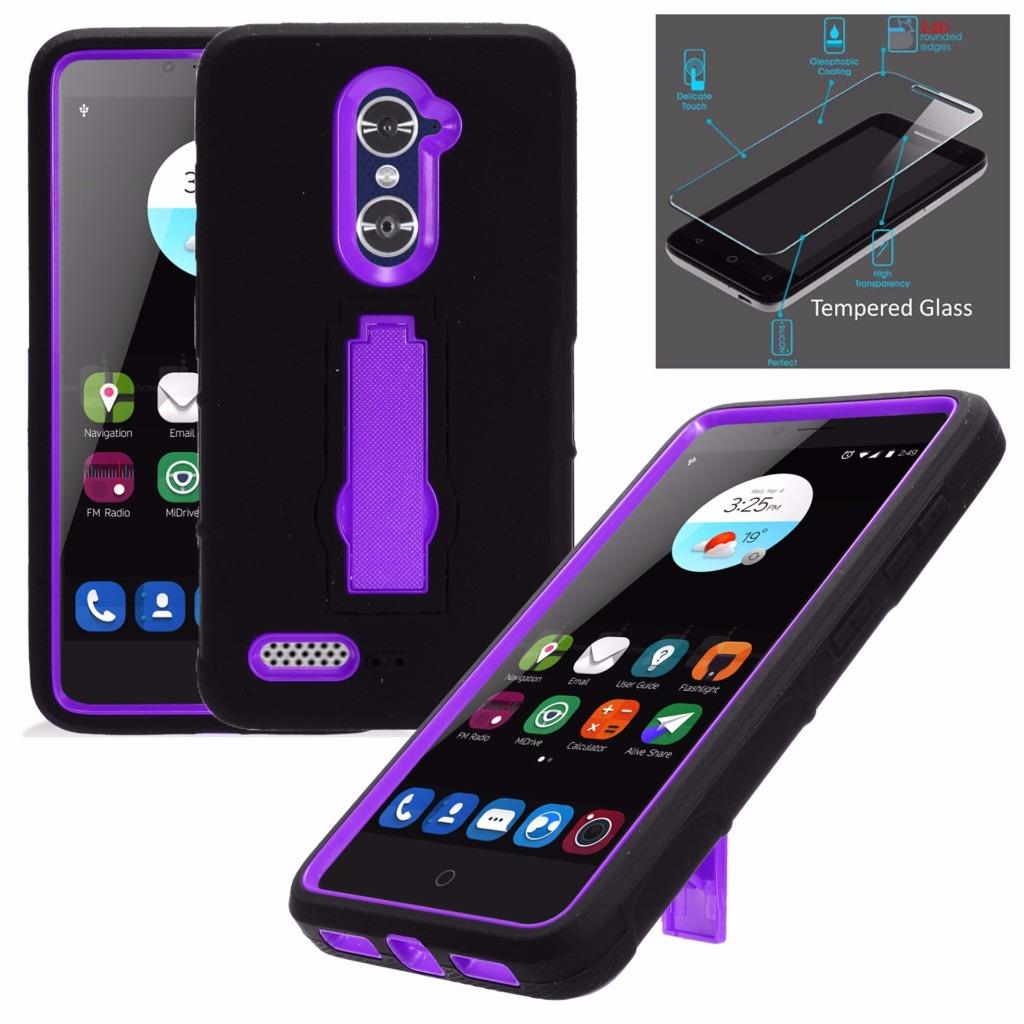 For  ZTE MAX XL Case / ZTE Blade Max 3 Case Z986U N9560 + Tempered Glass Symbiosis Armor Hybrid Silicone Phone Cover Hard Plastic w/ Stand (Purple/Black)