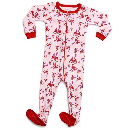Leveret - Leveret Organic Cotton Bow Footed Pajama Sleeper 6-12 Months -  Walmart.com 48a92d2fd