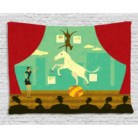 Circus Tapestry, Circus Show of Pony and Hound Dog with Assistant at Theatre Stage and Audience Theme, Wall Hanging for Bedroom Living Room Dorm Decor, 60W X 40L Inches, Multicolor, by Ambesonne ()