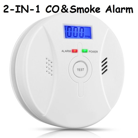 2-in-1Smoke Detector & Carbon Monoxide Alarm CO Carbon Monoxide Detector  Alarm Tester Sensor Meter Alert Home Safety with Digital LCD Display and