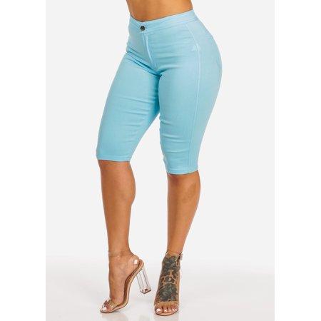 - Womens Juniors High Waisted Stretchy Solid Light Blue 2 Pocket One Button Capri 10218L