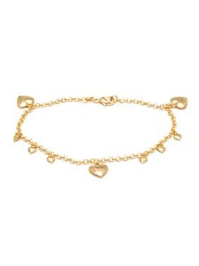 "18K Gold Plated Heart Charm 10"" Anklet Bracelet"