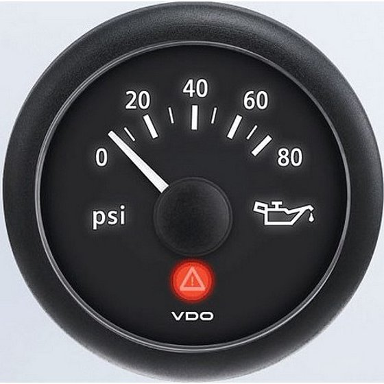 VDO A2C53412998-K2 Oil Pressure - 0 PSI - 80 PSI Metric Kit - Electronic -  Viewline Onyx - Bezel not included