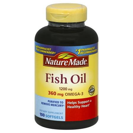 Nature Made Fish Oil Omega-3 Softgels, 1200 Mg, 100 Ct