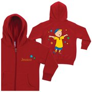 Personalized Caillou and Stars Red Zip-Up Kids' Hoodie