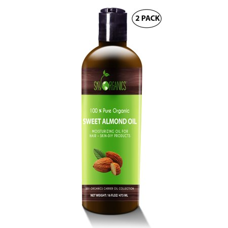 Best Sweet Almond Oil by Sky Organics 16oz-(2 pack)100% Pure, Cold-Pressed, Organic Almond Oil. Great As a Baby Oil- Works Wonder On Wrinkles- Anti-Aging. Almond Oil- Carrier Oil for (Best Oil For Perineal Massage)