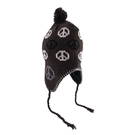 Peace Sign Knit Winter Hat with Pom Pom](Peace Sign Headband)