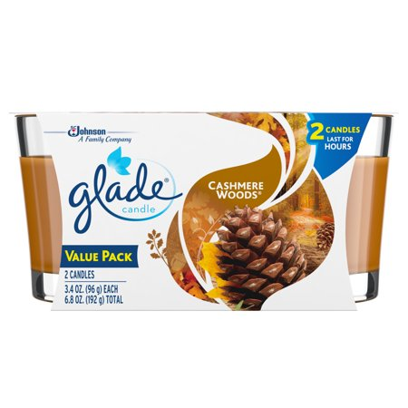 Cashmere Waterfall - Glade Candle, Cashmere Woods, 3.4 oz. (Pack of 2)