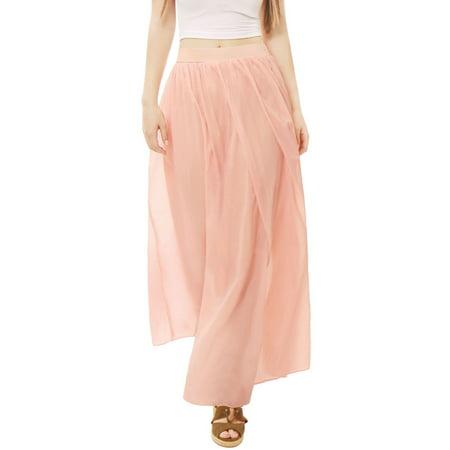 (Women Pleated Elastic Waist Flowy Boho Maxi Skirt)