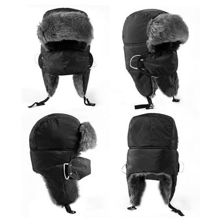 Unisex Winter Trooper Trapper Hat Ski Warm Hat Faux Fur Ushanka Hunting Hat with Windproof Mask