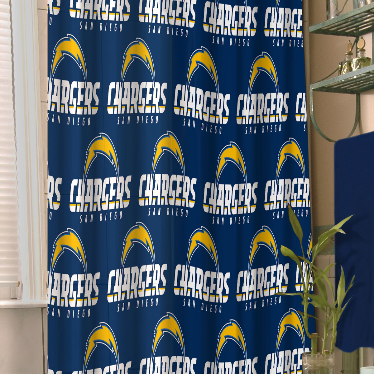 NFL San Diego Chargers Shower Curtain Football Bathroom