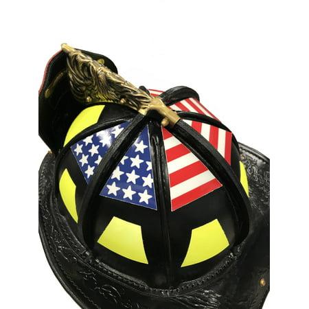 Firefighter Helmet decals USA Flag Set 6 Part Original 2 Layer Triangle Hand Cut ()