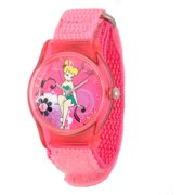 Girls' Plastic Case Watch, Pink Nylon Strap