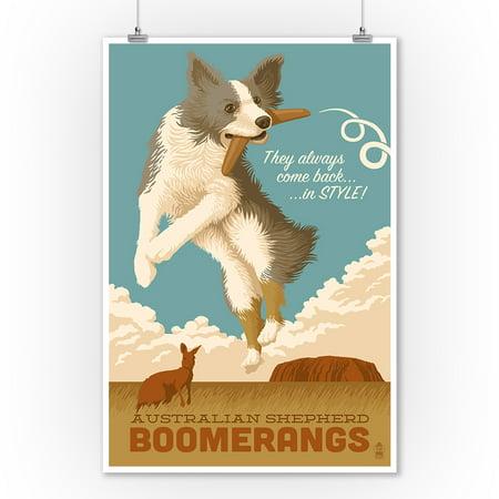 Australian Shepherd Portrait (Australian Shepherd - Retro Boomerang Ad - Lantern Press Artwork (9x12 Art Print, Wall Decor Travel)