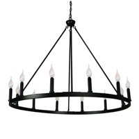 Canyon Home 12 Light Chandelier Wagon Wheel (37 Wide) Matte Black Steel Frame | Large Home Decoration | Foyer, Entryway, Dining Room