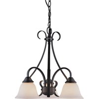 Boston Harbor Dimmable Chandelier, (3) 60/13 W Medium A19/Cfl Lamp, Chain Hanging, White Glass Shade