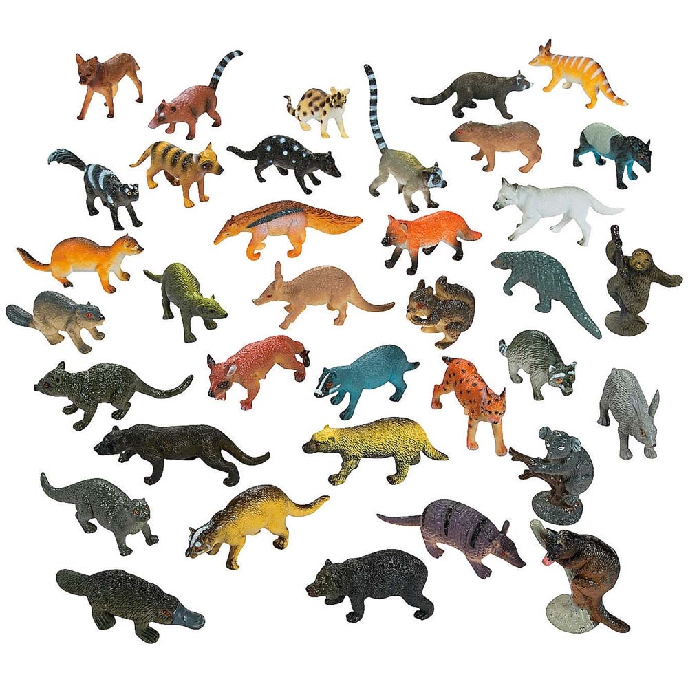 "1""-2.5"" Set of 12 Resin Forest Animals Raccoon, Squirrel, Fox, Otter Action... by BestPysanky"