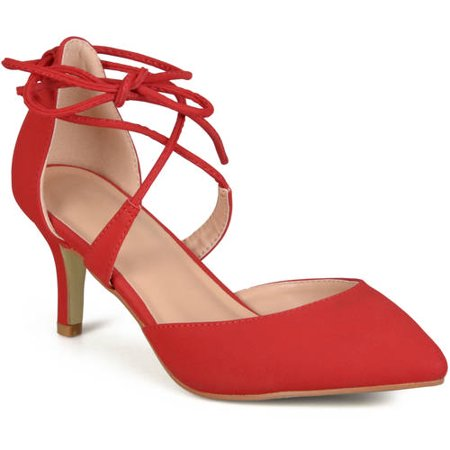 Womens Pointed Toe Lace-up Ankle Strap Pumps (Red Pointed Toe Pump)