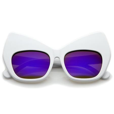 d8d7a1a1b587 sunglassLA - sunglassLA - Chunky Frame Colored Mirror Square Lens Oversized Cat  Eye Sunglasses - 54mm - Walmart.com