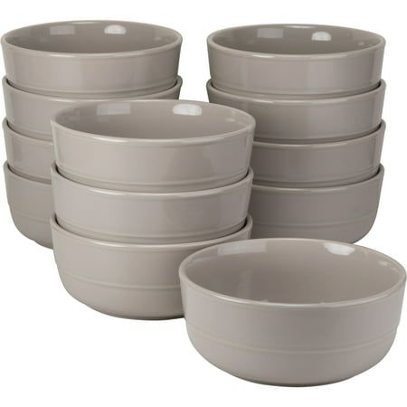 10 Strawberry Street Double Line Catering Pack, Set of 12 Gray Cereal Bowls, 6