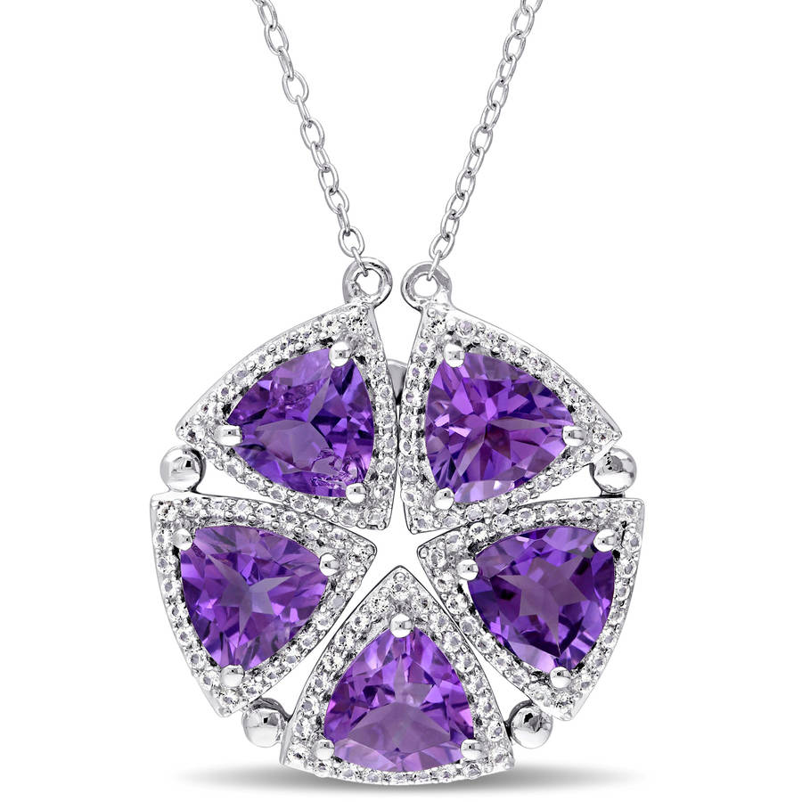 "Tangelo 6-1 10 Carat T.G.W. Trilliant-Cut Amethyst and White Topaz Sterling Silver Flower Necklace, 17"" by Tangelo"