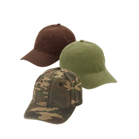 Boys Camouflage Baseball Cap (George Camo, Brown Bark, Olive Branch Baseball Cap 3-pack)