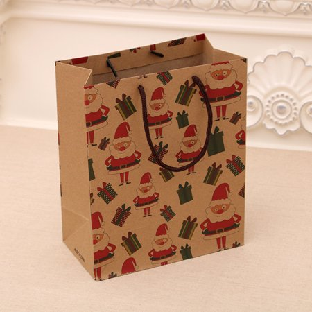 12 Pack Christmas Gift Bags Kraft Paper Tote Bag With