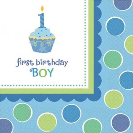 1st Birthday 'Sweet Lil' Cupcake Boy' Small Napkins (36ct) - First Birthday Napkins