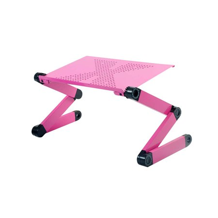 Bed Stand + Cooling Fan & Mouse Pad Laptop PC Stand Tray Bedside Reading eBook Tablet Pink Bed Reading Tray