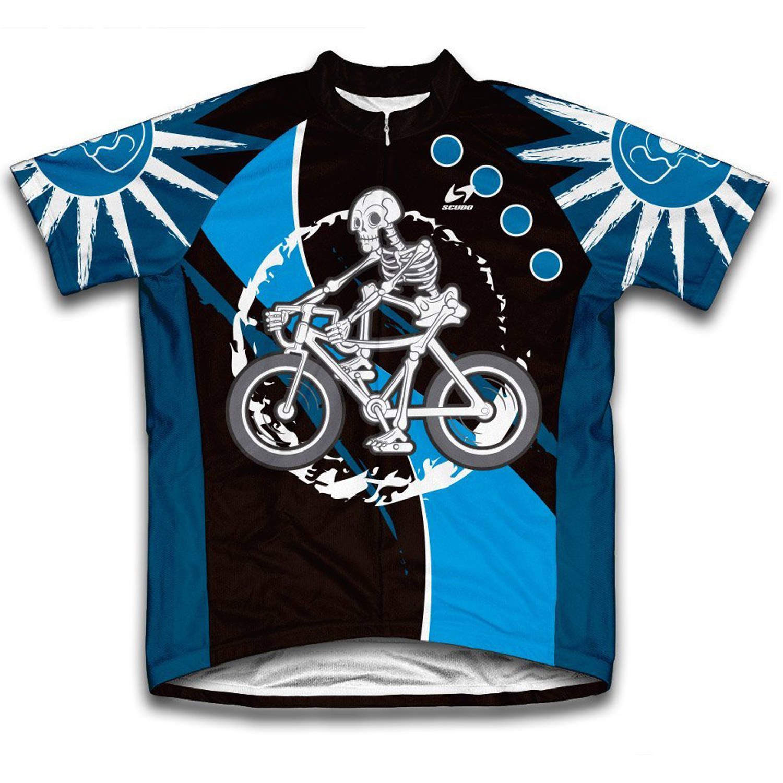 Skeleton Biker Microfiber Short-Sleeved Cycling Jersey, Assorted Sizes