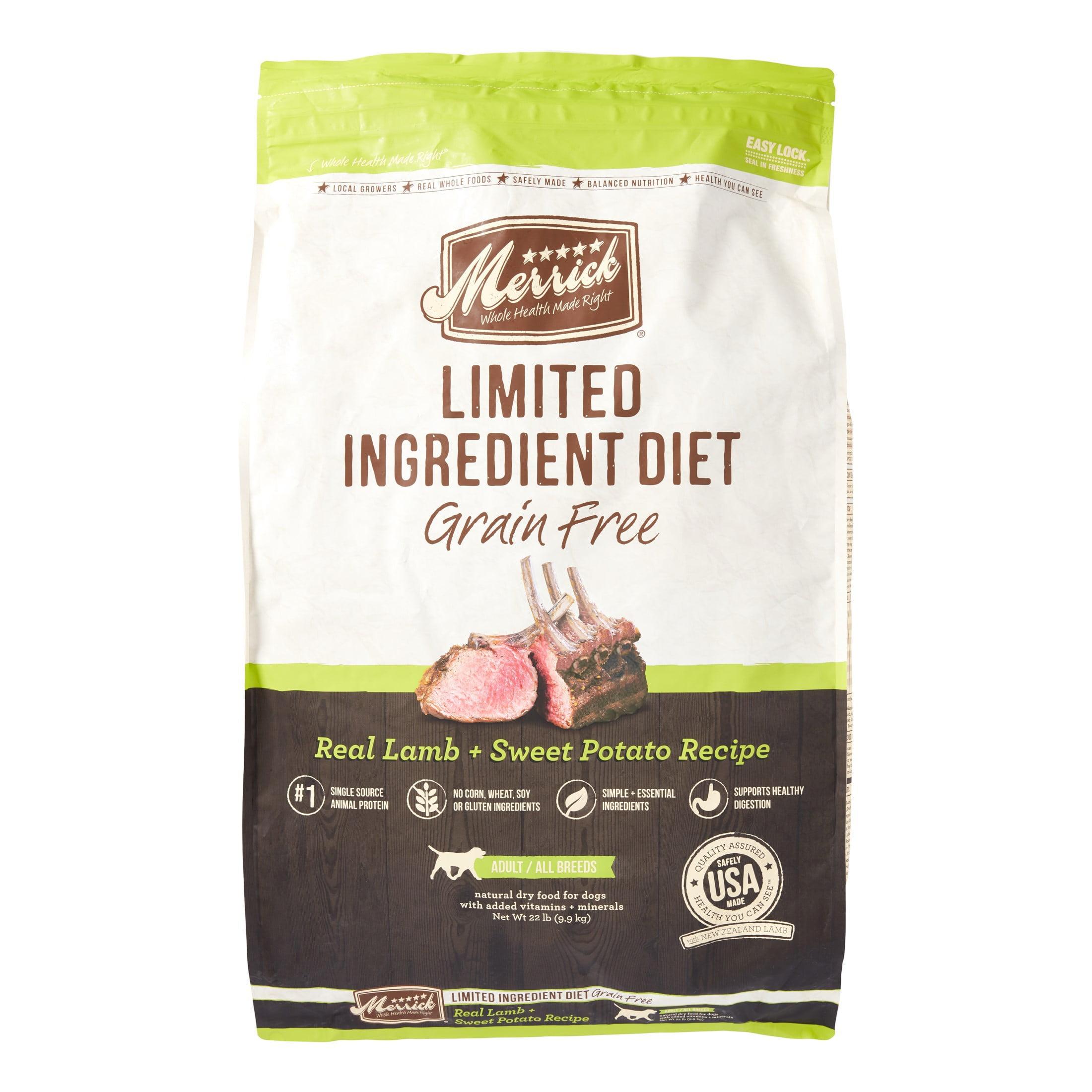 Merrick Limited Ingredient Diet Grain-Free Real Lamb + Sweet Potato Recipe Dry Dog Food, 22 lb