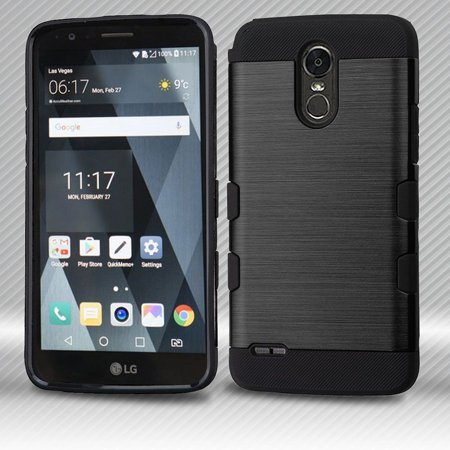wholesale dealer 69893 c6692 LG Stylo 3 Case, LG Stylo 3 Phone Case, by Insten Brushed TUFF Trooper  (Shock Absorbing) Hybrid PC/TPU Case with Package For LG Stylo 3 - Black