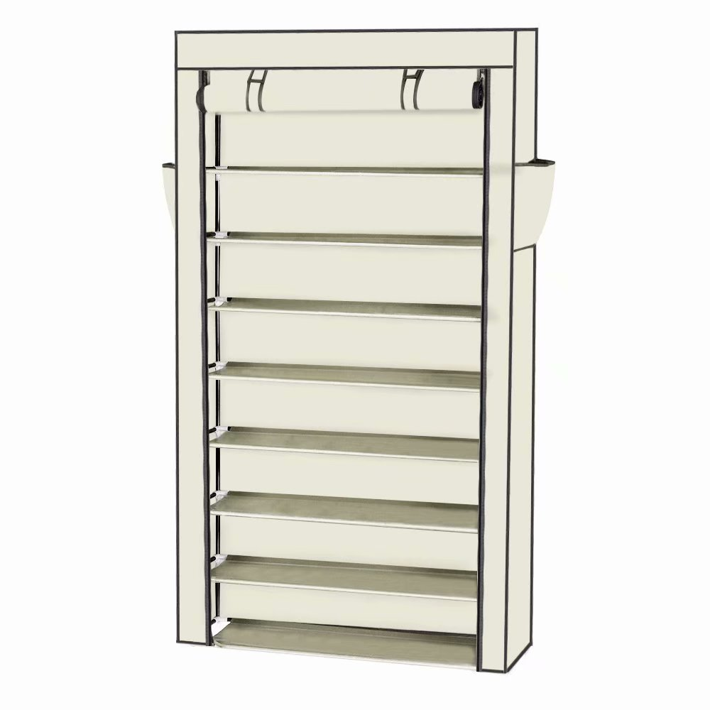 Voomwa 10 Tiers Shoe Rack with Dustproof Cover Closet Shoe Storage Cabinet Organizer Beige