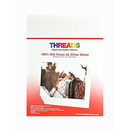 Classic Inkjet - Threads Inkjet Printable Fabrics 23mm  Silk Crepe de Chine 8 1/2in x 11in