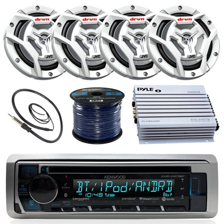 Kenwood KMRD375BT Marine Boat Radio Stereo CD Player Receiver Bundle Combo With 4x JVC CS-DR6201MW 6.5