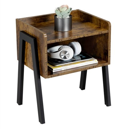 Industrial End Tables Nightstands with Storage Drawer for Bedroom, Rustic Brown ()
