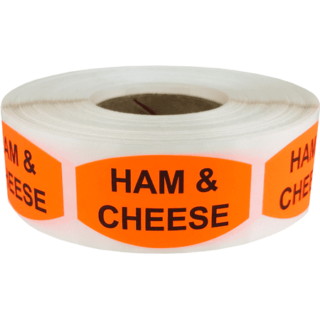 Ham and Cheese Grocery Store Food Labels .75 x 1.375 Inch Oval Shape 500 Total Adhesive - Cheese Labels