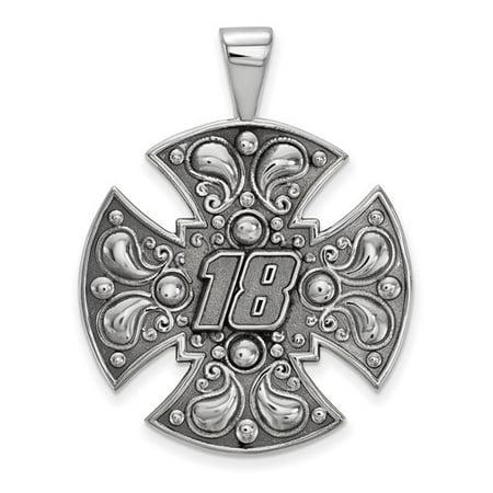 Sterling Silver Logoart Official Licensed Nascar Large Maltese Cross For Men  18  Kyle Busch