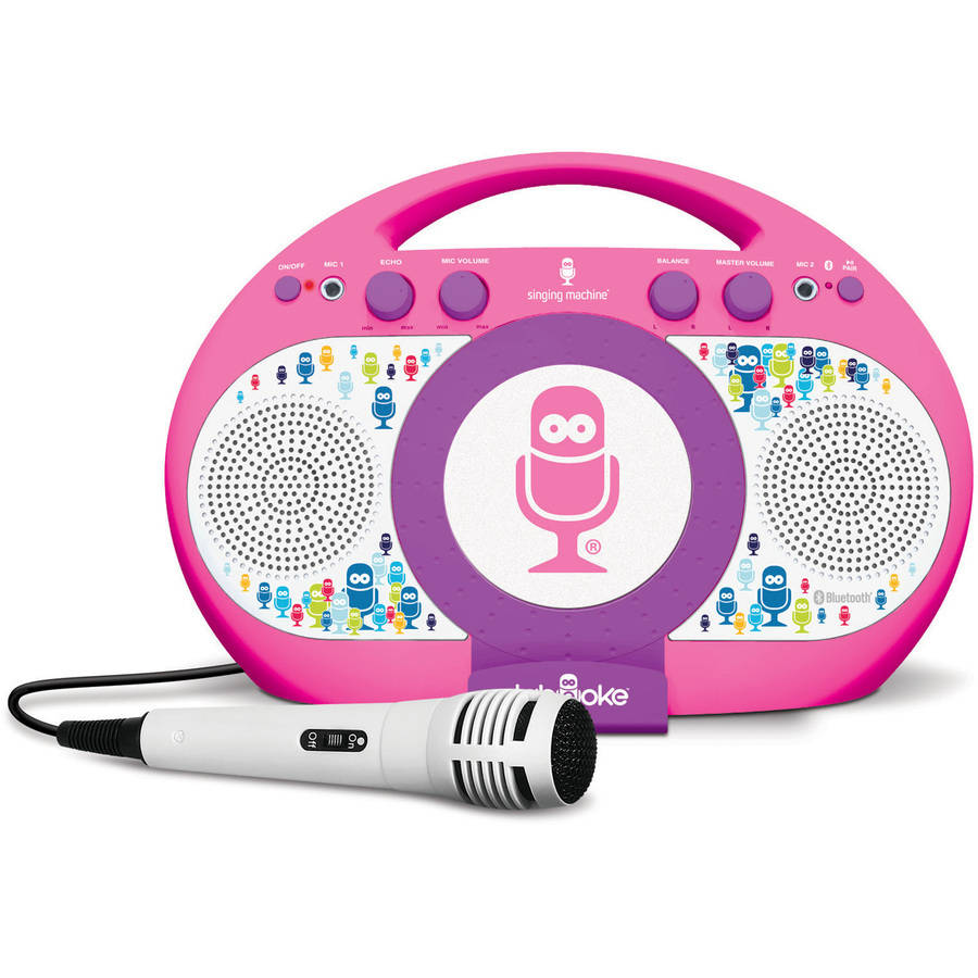 Singing Machine Tabeoke Portable Bluetooth Karaoke System, Compatible with a Variety of Karaoke Apps, Pink