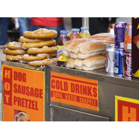 Hot Dog and Pretzel Stand, Manhattan, New York City, New York, USA Print Wall Art By Amanda