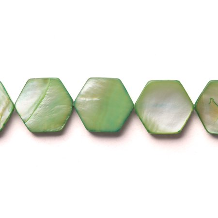 Apple Green Mother-Of-Pearl Flat Hexagon Shell Beads Size:15x15mm - Apple Beads