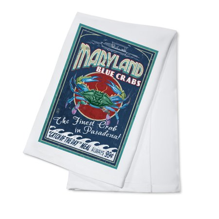 Pasadena  Maryland   Blue Crabs Vintage Sign   Lantern Press Artwork  100  Cotton Kitchen Towel