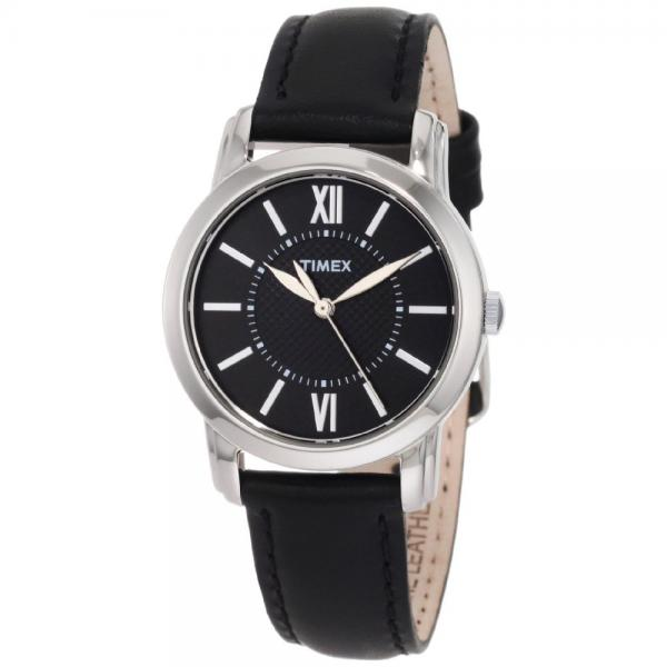 Timex Women's T2N6819J Style Classic Black Leather Strap ...