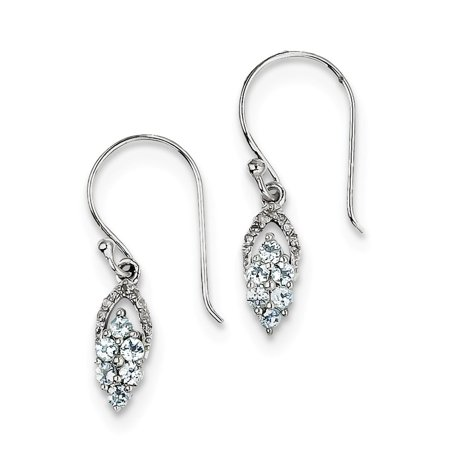 Aquamarine Hoop Earring - Sterling Silver Rhodium Diamond And Aquamarine Shepherd Hoop Earrings (0.06ct H/SI2)