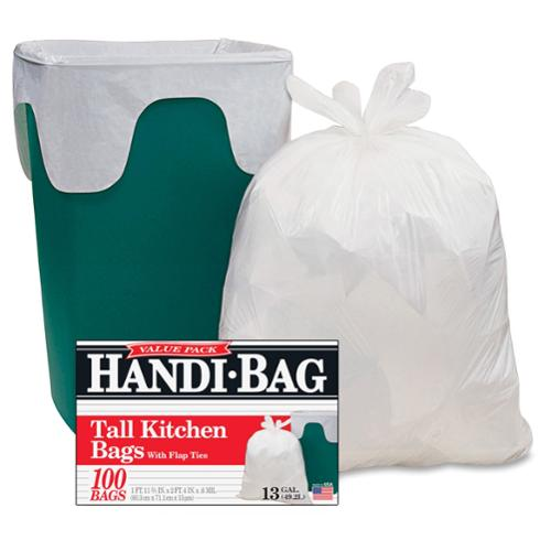 "Webster Handi-bag Flap Tie Tall Kitchen Bags - 10 Gal - 23.50"" Width X 29"" Length X 0.60 Mil [15 Micron] Thickness - White - Hexene Resin - 600/carton - Home, Office, Kitchen (hab6fk100ct)"