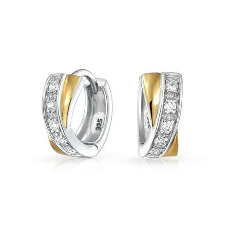Criss Cross Twist X Small Kpop Huggie Earrings Hoop For Women Men Cubic Zirconia CZ 14K Gold Plated 925 Sterling Silver (Huggie Twisted Earrings)