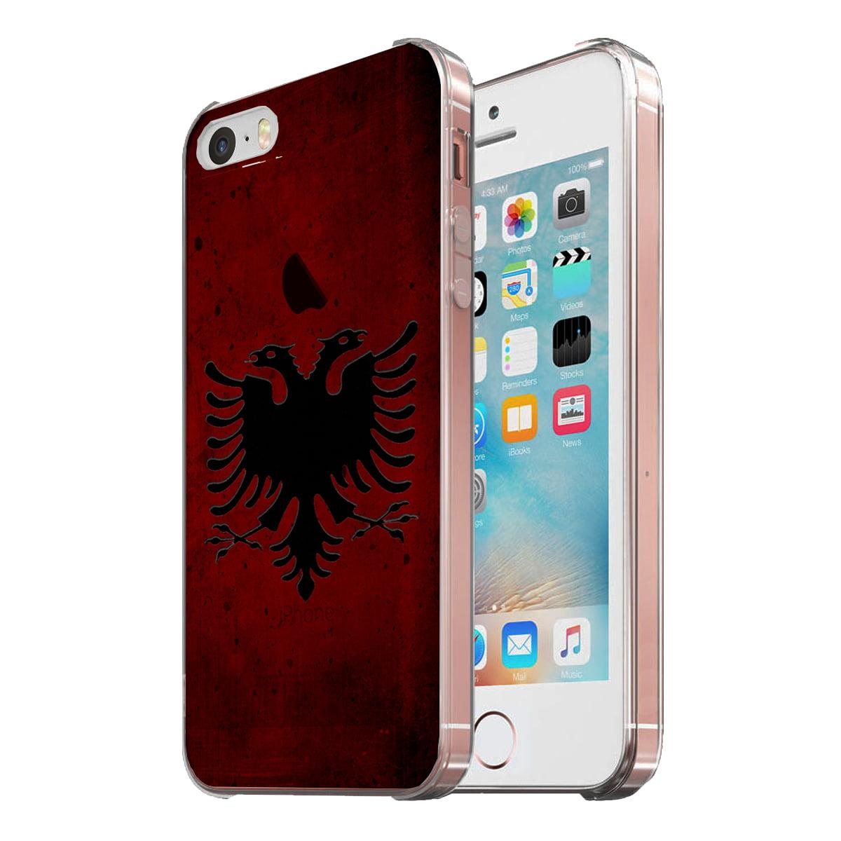 KuzmarK Clear Cover Case fits iPhone SE & iPhone 5 - Albanian Flag Modern