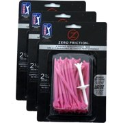"""NEW Zero Friction Pink Tees 2¾"""" Plastic 3 Packs of 40/ 120 Total 3 Prong / 2.75"""""""